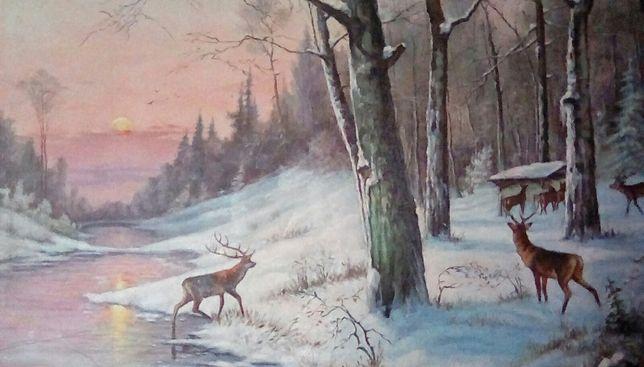 """Картина маслом для интерьера на холсте """" зимой у реки """" 115×90 см"""