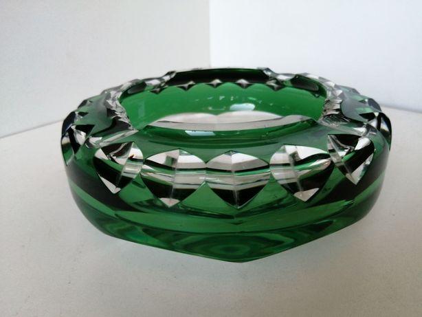 Popielnica Kryształowa Vintage zielone szkło