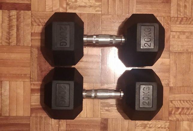 Halteres hexagonais de borracha de 20kg NOVOS