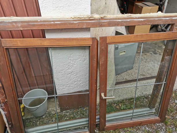 Duże okno podwójne szyby z rama drewniane 175/120