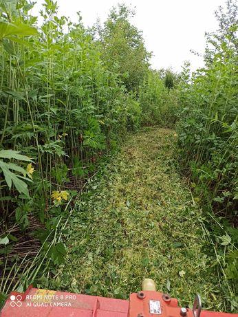 Koszenie traw, trawników, nieużytków kosiarka bijakowa działki działek