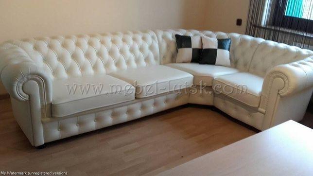 Новый кожаный угловой диван Честер.Chesterfield Ручная утяжка, Польша