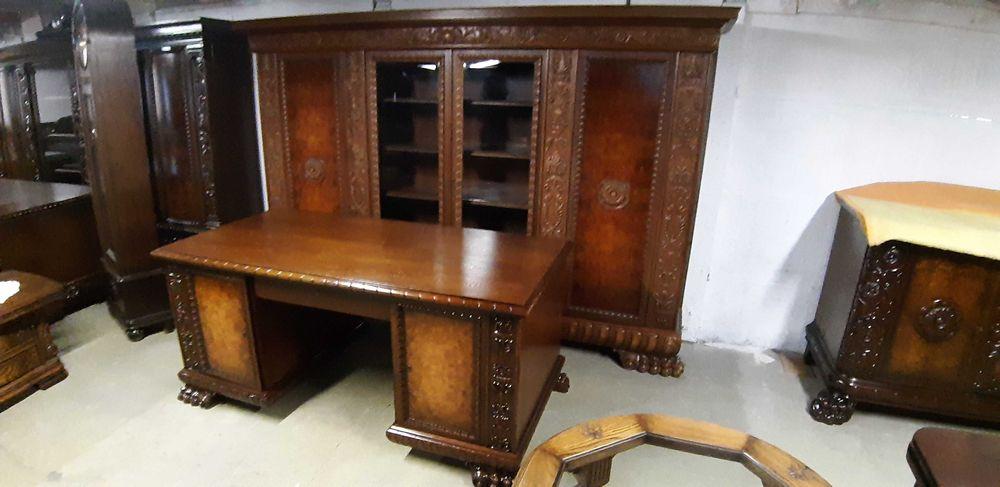 Stylowa  biblioteka  z biurkiem  na lwich łapach Gabinet Czacz - image 1