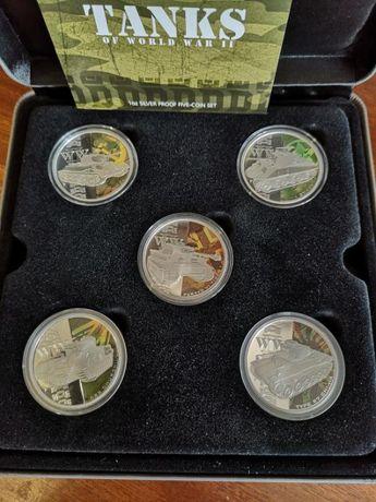 Тувалу 1 доллар 2010 набор из 5ти монет «Танки второй мировой войны»