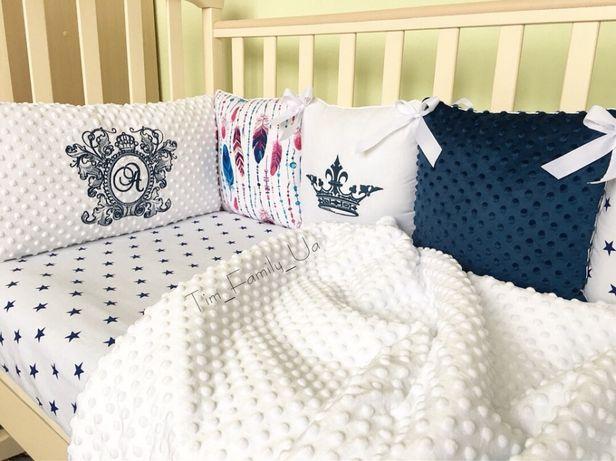 Бортики защита в кроватку,постельный комплект,кокон,конверт на выписку