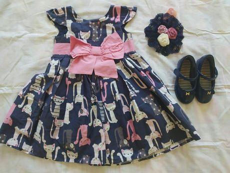 Платье нарядное Next, туфли балетки Merci Mama, повязка