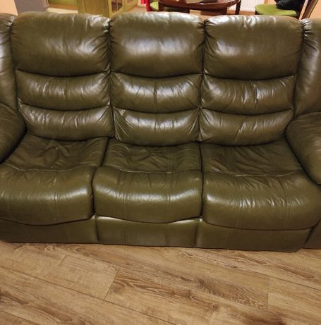 Sofa 3 osobowa funkcja spania ekoskóra zielona