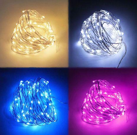Гирлянда LED новогодняя капельки на батарейках все цвета свадьба декор