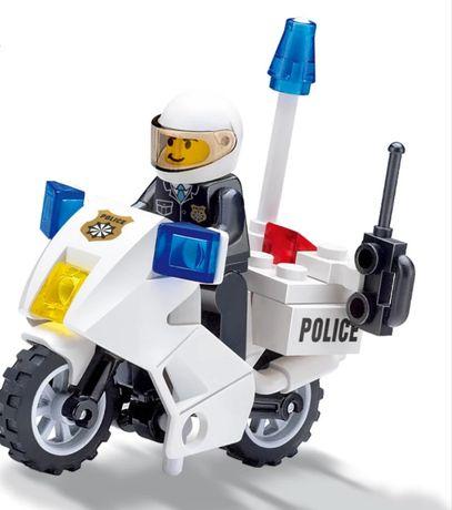 Klocki policjant na motorze, nowe, kompatybilne z lego