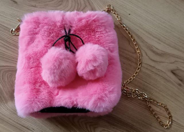 Torebka dziewczęca różowa złoty łańcuch torebeczka misiowa na prezent