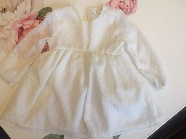 Sukienka r.80 biała chrzest