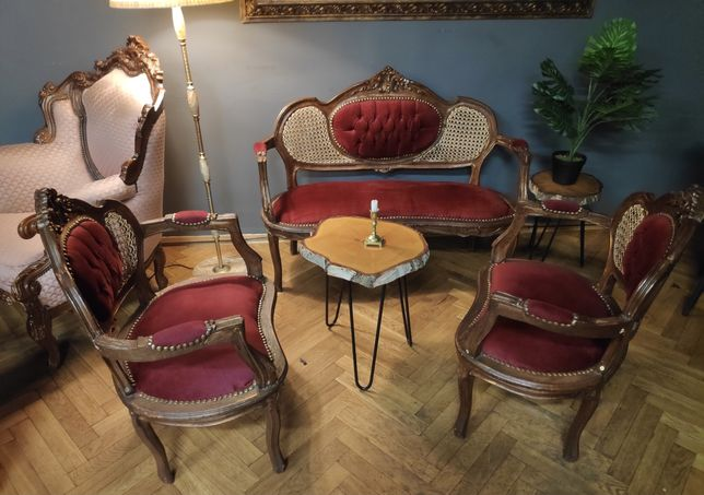 Sofa ludwik z fotelami, sofa ludwikowska, wiklinowa góra