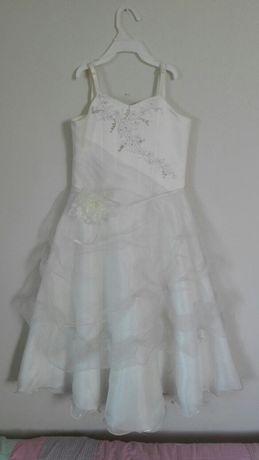 Suknia przeslicza dziewczece ,elegancka ,roz134,kolor ecru ,tiulowa ,