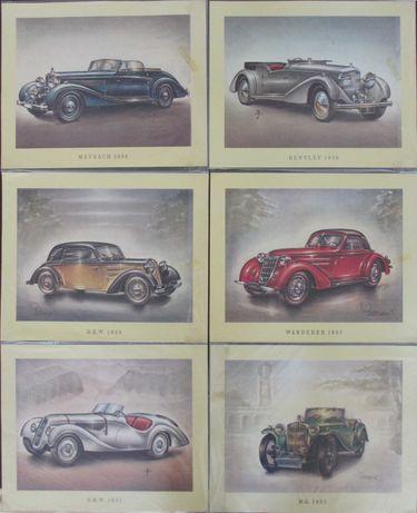 Conjunto de 28 gravuras de automóveis clássicos