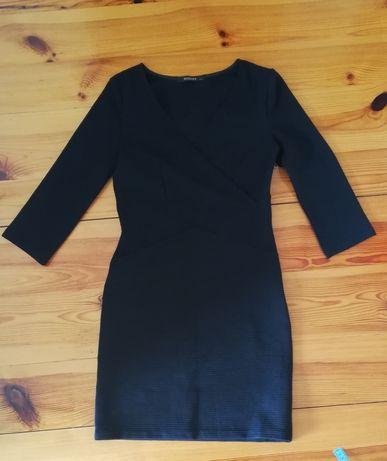Czarna sukienka Reserved S kopertowy przód prążki