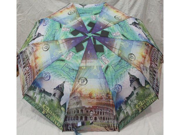 Женский зонт Полуавтомат, Антиветер, 10 спиц карбон складной