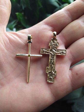 Золотой крест обручалка серьги