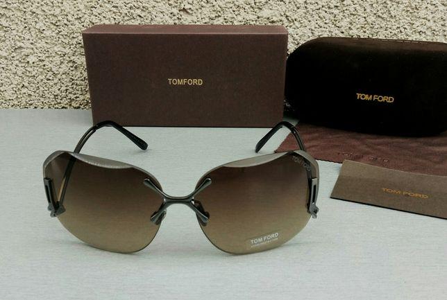 Tom Ford модные женские очки от солнца коричневые безоправные градиент