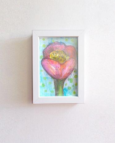 mała akwarela w ramce, kwiat obrazek w ramce, kwiat ozdoba na meble