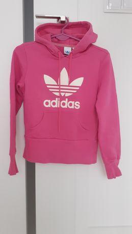 Bluza damska z kapturem Adidas Treofil różowa białe logo XS 34
