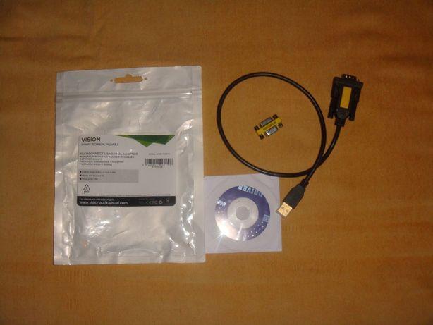Vision USB to Serial Adaptor, USB-B to 9-pin D-sub, M/M, Black