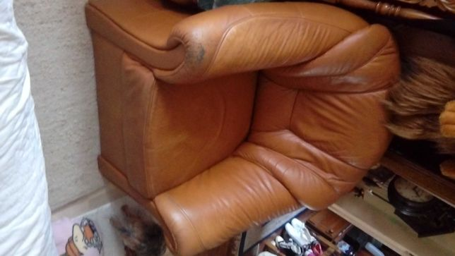fotel wielki sprawny wygodny czysty stary ekoskóra ODDAMY