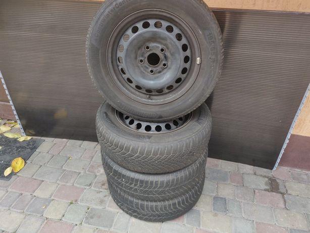 Зимние шины 195 65 15 + диски R15 5 112 VW caddy, Passat, Touran
