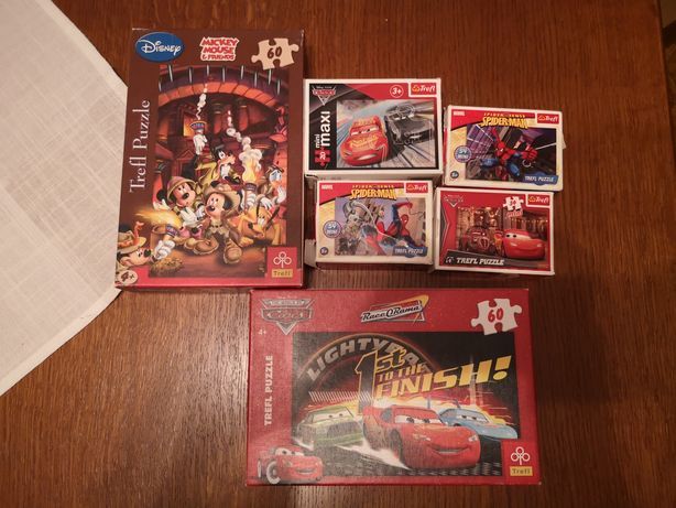 Puzzle Cars, Auta, Spiderman i Mickey Mouse