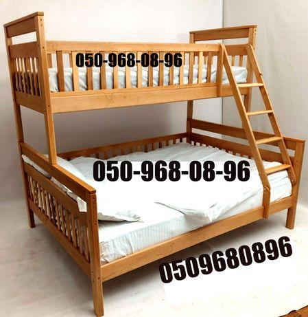"""Двухъярусная """"Адель 2в1"""" трехспальная кровать с ольхи. Есть акция."""
