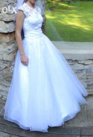 Biała suknia ślubna rozm. 34-36 - koronka