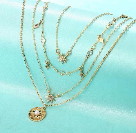 Łańcuszek kaskadowy, biżuteria, złoty kolor