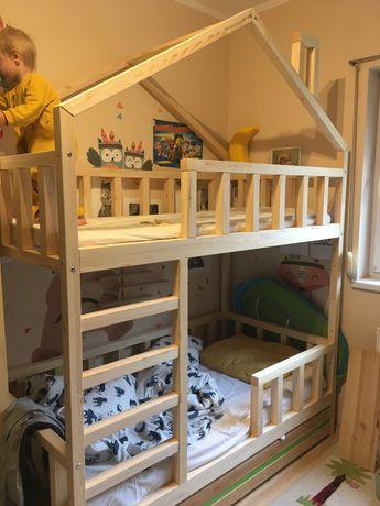 Łóżko piętrowe domek 100 % drewno 80x160