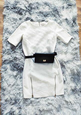 Reserved biała krótka letnia sukienka 34 xs suwaki złote mini