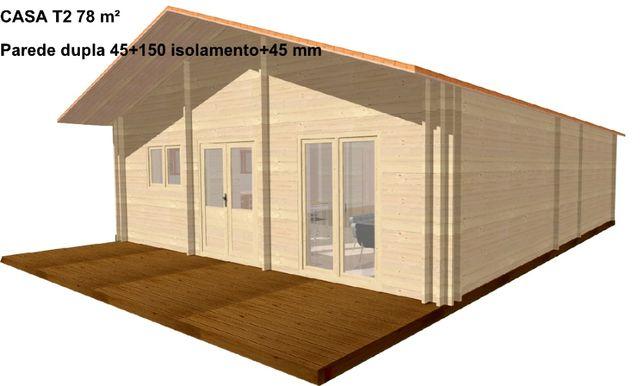 CASA DE MADEIRA T2 - 78m² - Parede dupla 45+150 isolamento+45mm