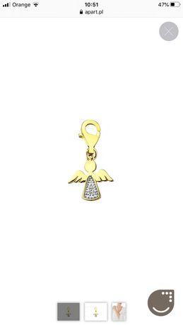 Zawieszka charms z żółtego złota z diamentami - aniołek Apart