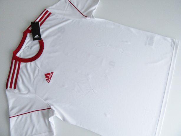 NOWY T-Shirt ADIDAS Rozm L Męski Koszulka Biało-Czerwona