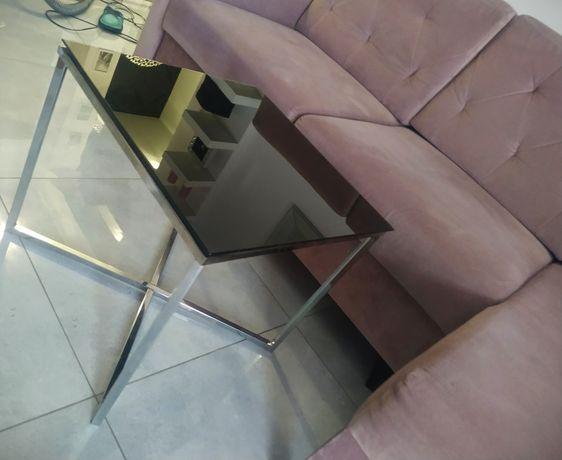 Stolik kawowy ze szkłem czarnym nogi chrom glamour
