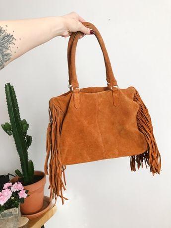 Topshop ruda skórzana torebka z frędzlami