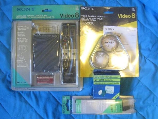 Sony Video 8 Acessórios Filtros VF-52M + VF-520K comando RM-151KA cabo