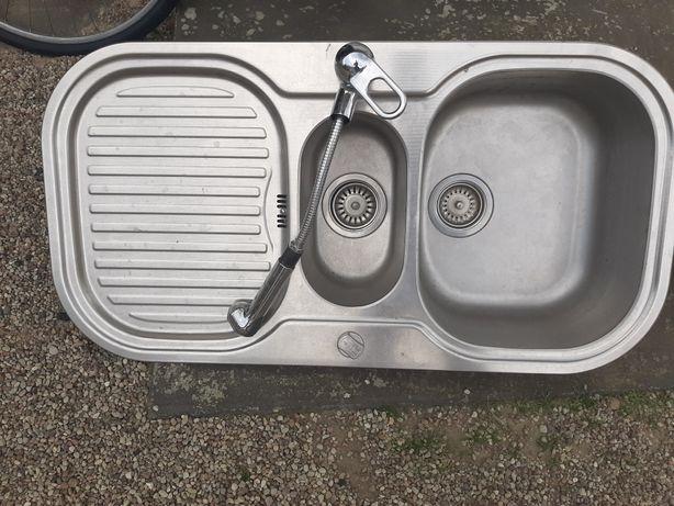 Zlew kuchenny dwukomorowy z ociekaczem i kranem 96x60