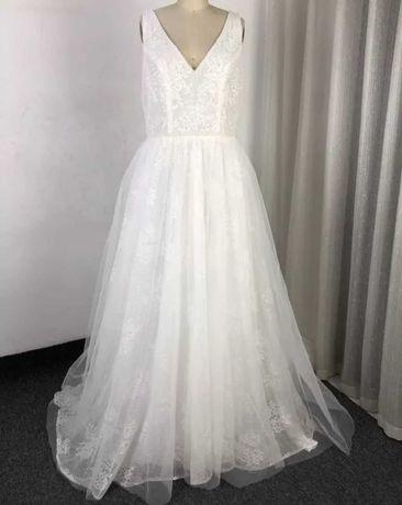 Suknia ślubna boho koronka tiul 38 40