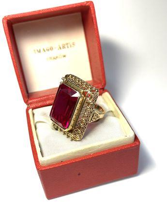 Złoty pierścionek Imago Artis próba 3 z rubinem przepiekny cudowny