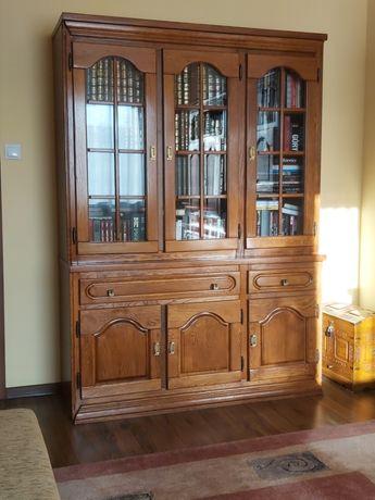 Dębowe meble- biblioteka, kredens, zestaw