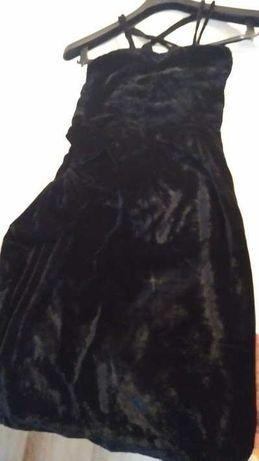 Suknia czarna z bolerkiem welur r. S -34/36
