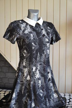 sukienka S mała szara z kołnierzykiem