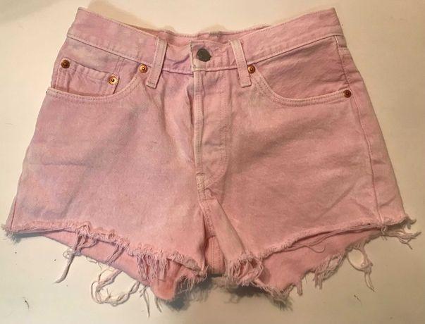 LEVI'S 501 różowe spodenki krótkie jeans SUPER W24 w b. db. - stanie