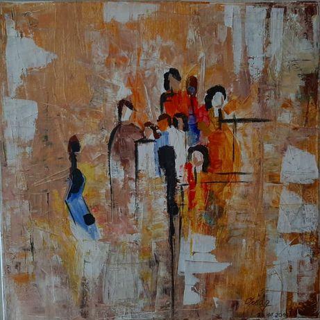 """Obraz """"Rodzina"""" 40×40 ręcznie malowany"""