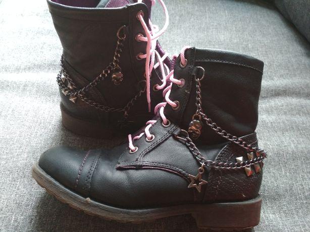 Buty kozaki traperki ocieplane dla dziewczynki (jak glany) r. 32
