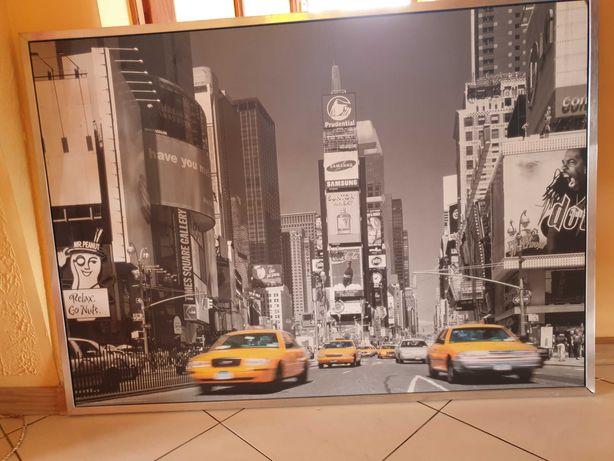 ObraZ samochody new york uszKodzona  ramka aluminiowa