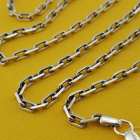 Серебряная цепочка якорь. Мужская якорная цепь из серебра 925. бисмарк